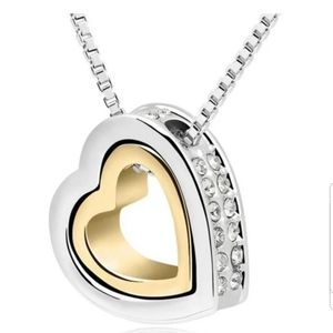 Swarovski Elements Double Heart Necklace NWT